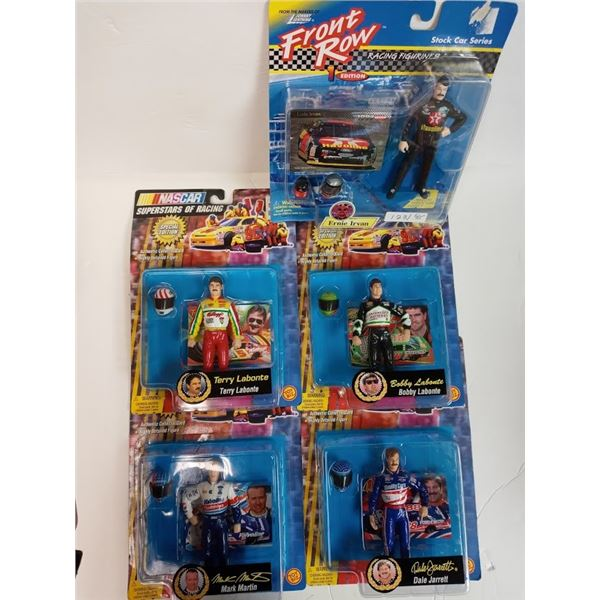SETS OF 4  NASCAR SUPERSTARS OF RACING AND ONE FRONT ROW RACING FIGURINES