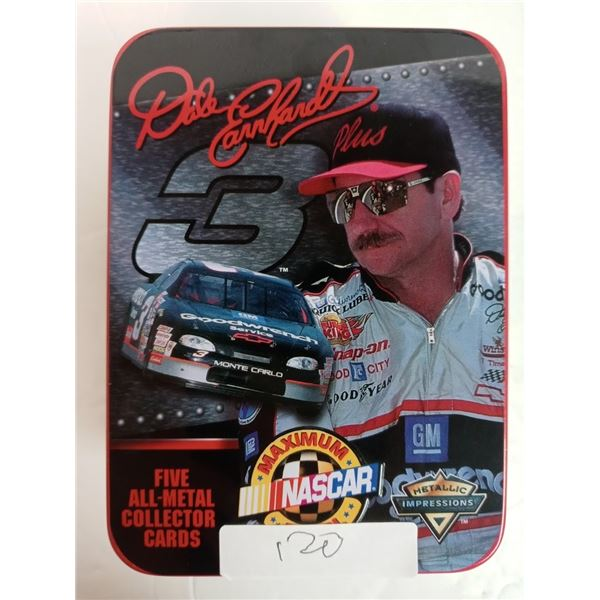 NEW DALE EARNHARDT #3 FIVE All METAL COMPLETE COLLECTOR CARD SET IN TIN BOX