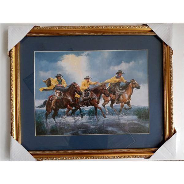 NEW COWBOY ART  MAT FRAMED ART $179.00