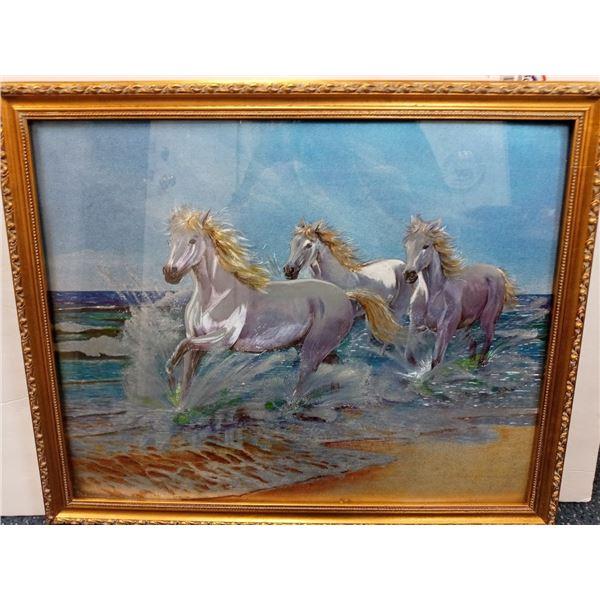 NEW LASER ART RUNNING HORSES $229.00