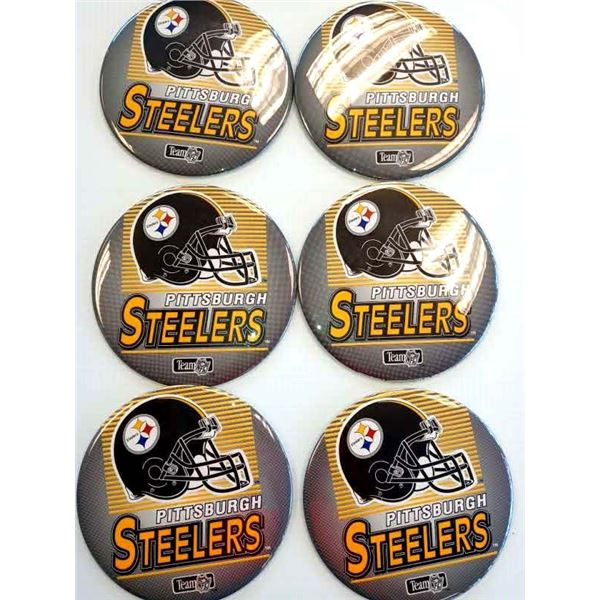JUMBO NEW STEELER'S LICENSED 6 INCH STANDING BUTTONS
