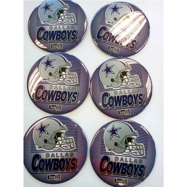 NEW SET OF 6 DALLAS COWBOYS LICENSED STANDING BUTTONS