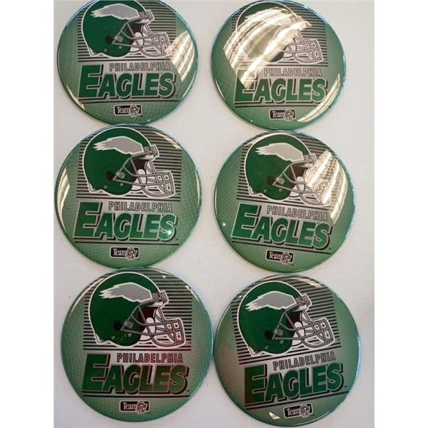 NEW PHILA EAGLES SET OF 6 STANDING BUTTONS