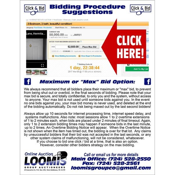 BIDDING SUGGESTIONS AND NOTICES
