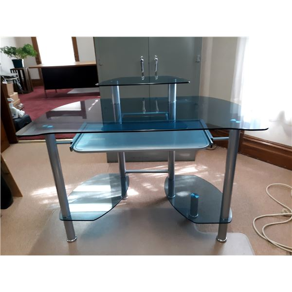 HIGH END EXECUTIVE GLASS/METAL DESK