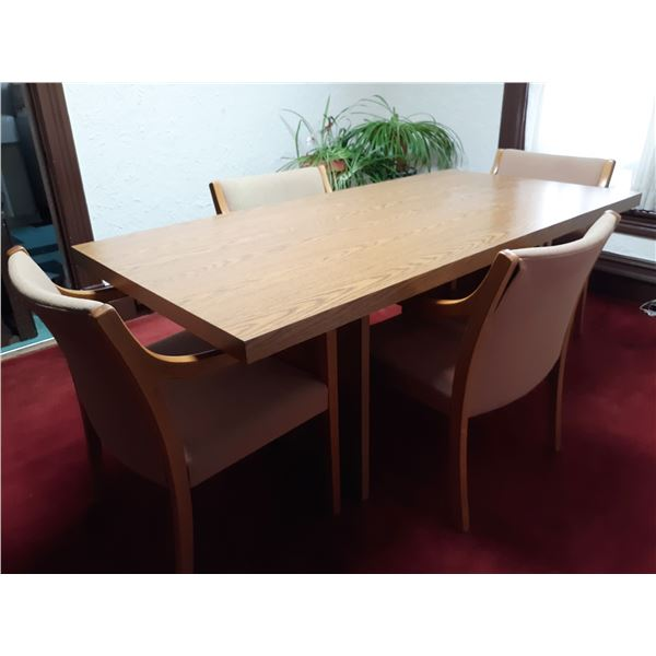 5 PC OAK LAMINATE EXECUTIVE CONFERENCE TABLE W/ 4 CHAIRS