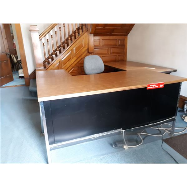 HIGH END METAL/WOOD LAMINATE SECTIONAL DESK