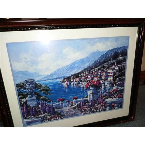 WOODEN FRAMED ART, DEPICTING A HARBOR