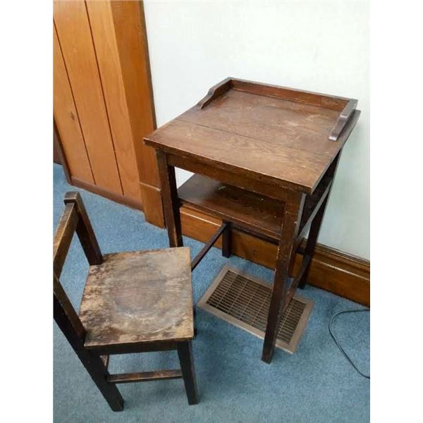 ANTIQUE TELEPHONE STAND W/ STOOL - LOOKS TO BE OAK