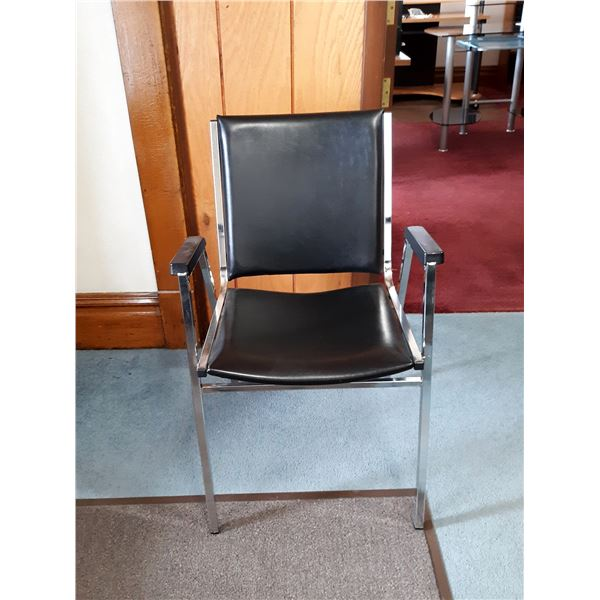 VINTAGE CLIENT CHAIRS, PADDED VINYL, CHROME FRAME (8)