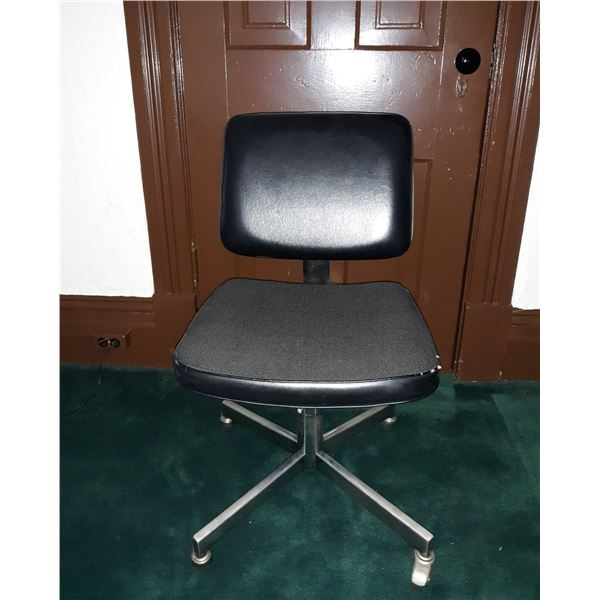 BLACK VINYL ARMLESS SECRETARY CHAIR, GOOD CONDITION