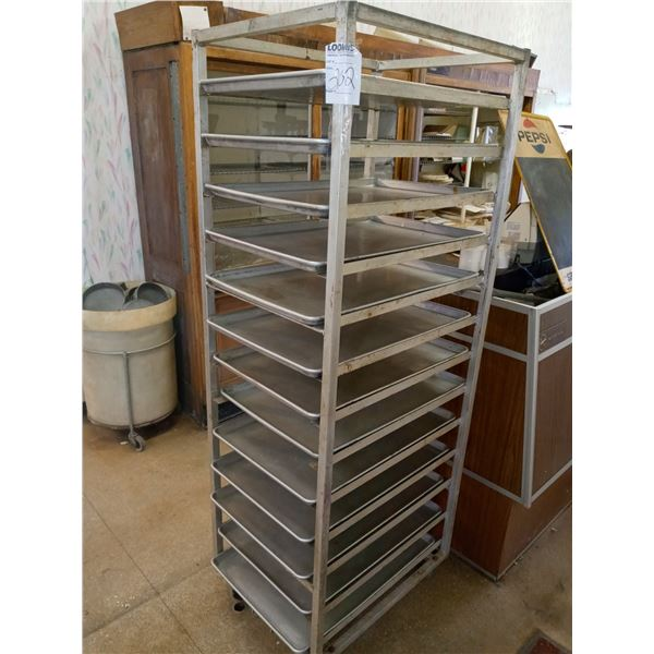 """13 TRAY CART W/ 26"""" X 18"""" TRAYS, IN LIKE-NEW CONDITION"""