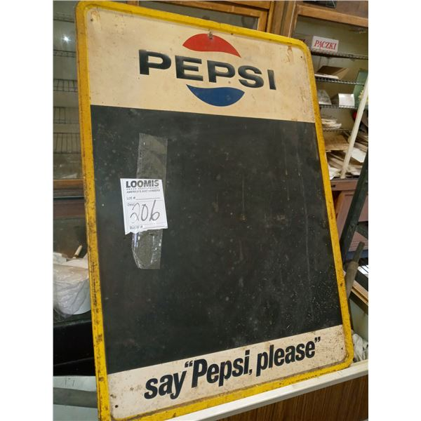 VINTAGE PEPSI COLA TIN CHALKBOARD ADVERTISING SIGN, IN GOOD CONDITION