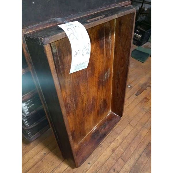 """ANTIQUE WOOD BAKERY TRAY/BOX, DOVETAILED, 37"""" L X 24"""" W X 6"""" D"""