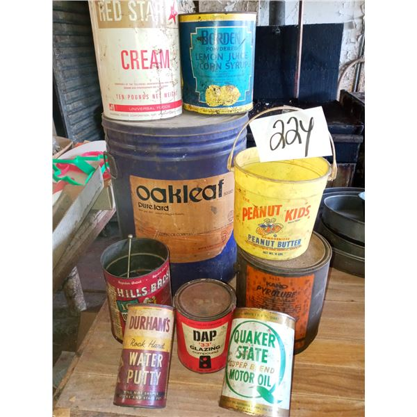 ASSORTED ANTIQUE ADVERTISING CANS