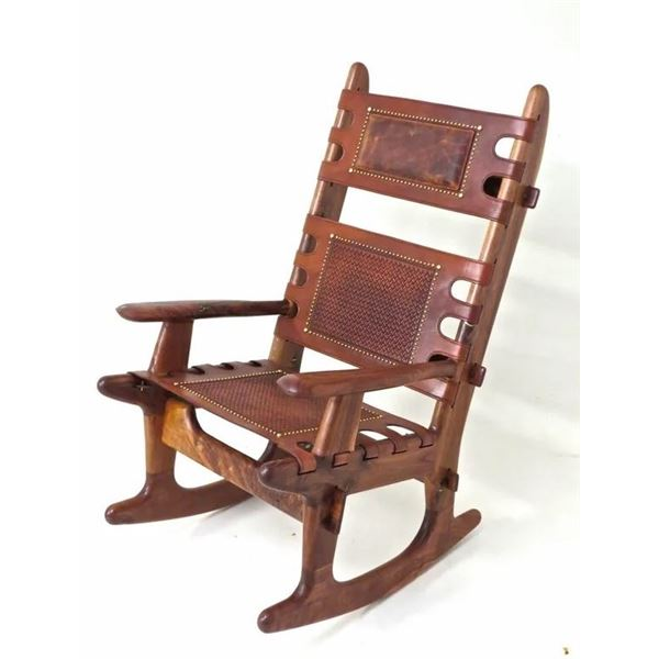 HENNEFORD FINE FURNITURE: Handmade Leather and Wood Rocking Chair