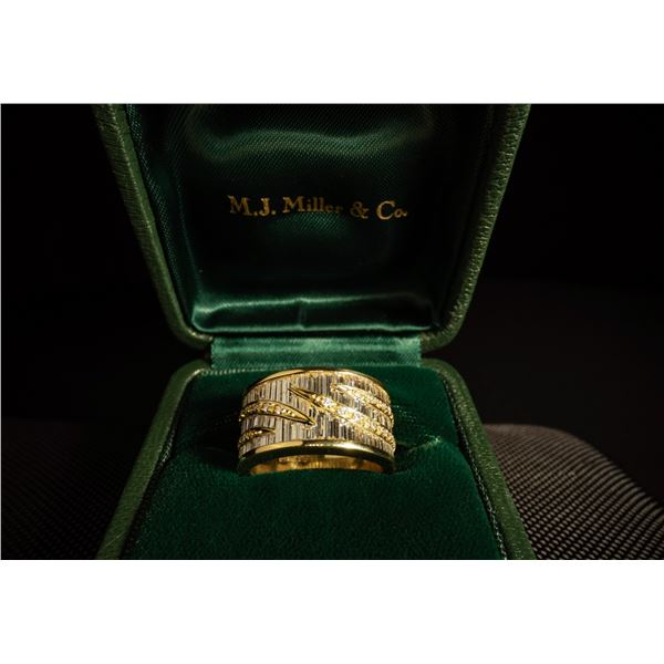 M.J. MILLER & CO: 18K Yellow Gold and Diamond Ring