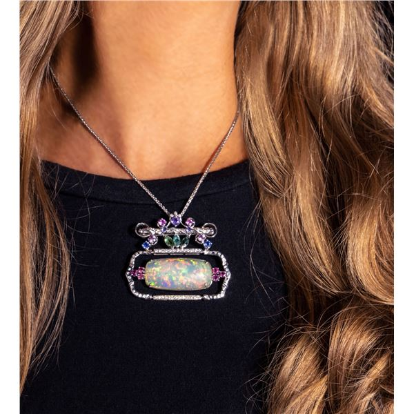 AVANTI BY AVANTI: Custom-Made Ethiopian Opal and Diamond Pendant/Brooch