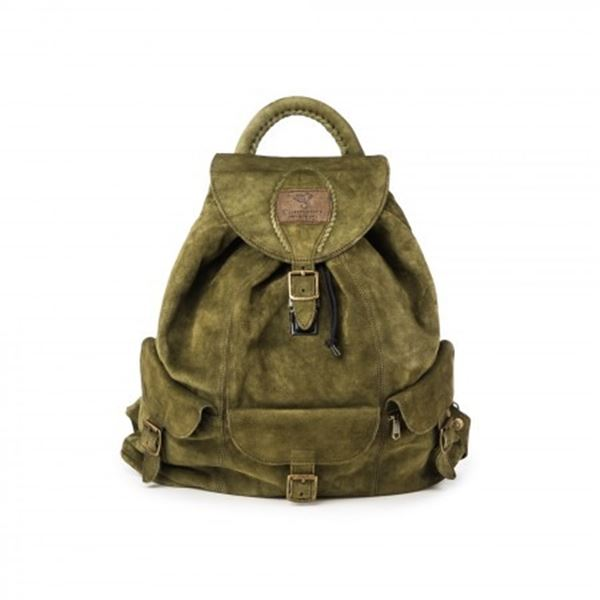 WESTLEY RICHARDS: Courteney Boot Company Impala Haversack Bag in Olive Suede
