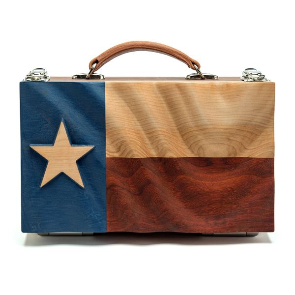 """AFRICAN SPORTING: Texas Flag """"Spirit"""" Carrier and Four Low Ball Glasses"""