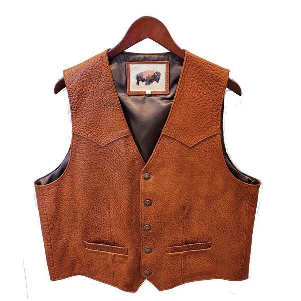 """LOMA VISTA: Men's Western-Style American Bison Vest in Cinnamon """"Cobblestone"""""""