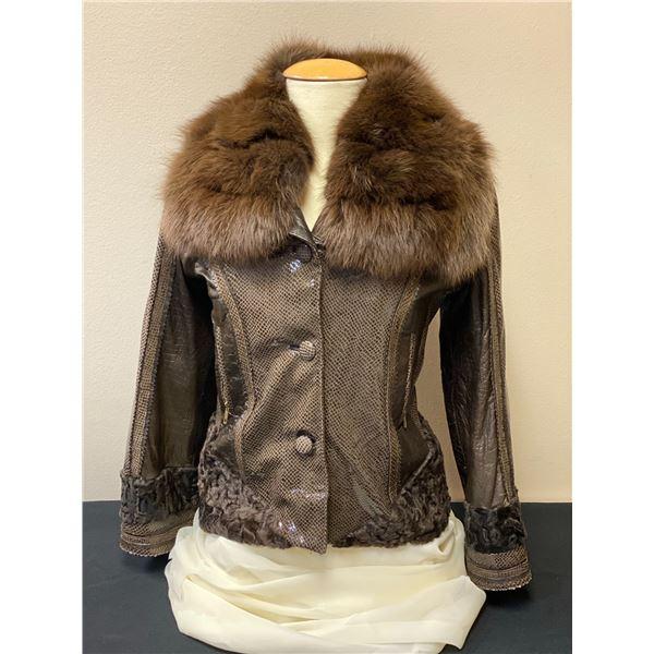 HOLLOWAY FURS: Ladies Python Leather Jacket with Persian Lamb/Fox Collar Trim
