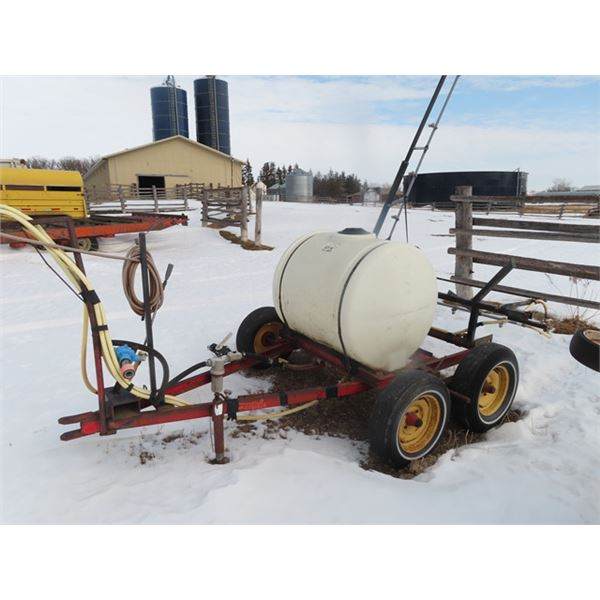 200 Gal Poly Tank Tandem Water Trailer/Sprayer w 15' Boom