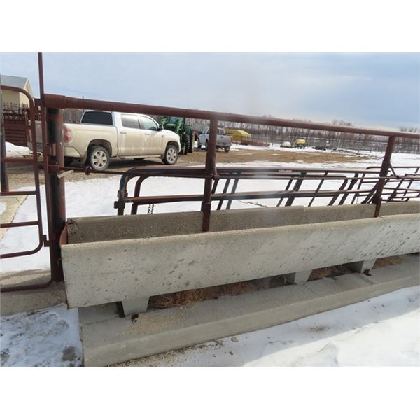 23 Pcs @  8' =184' Total  Cement Bunk Feeder w Pipe Guard & Adjustable Cable - Height  Purchaser Res