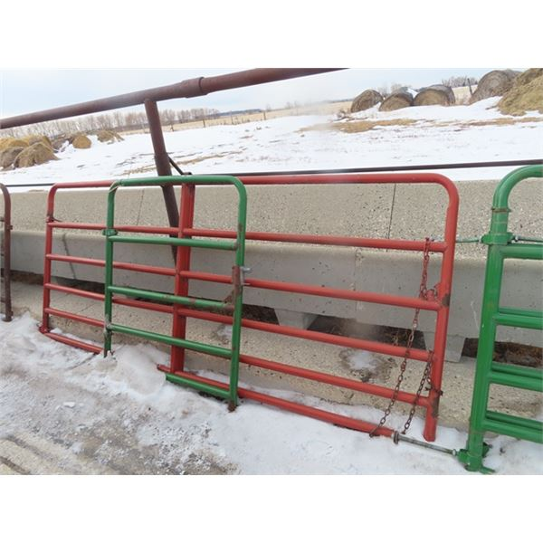 2 H & W Painted Metal Gates 1) 10' -6 Bar 1) 4' - 5 Bar