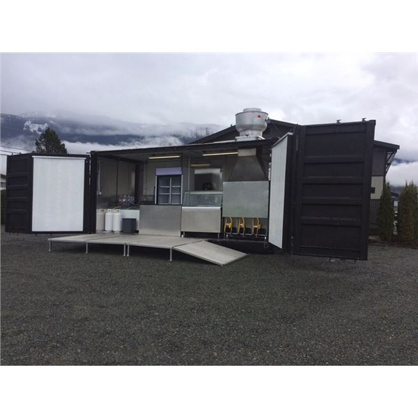 20FT FOOD KITCHEN/VENDOR CONTAINER INCLUDING EQUIPMENT, WITH SIDE DOORS AND BACK DOORS. COMES WITH