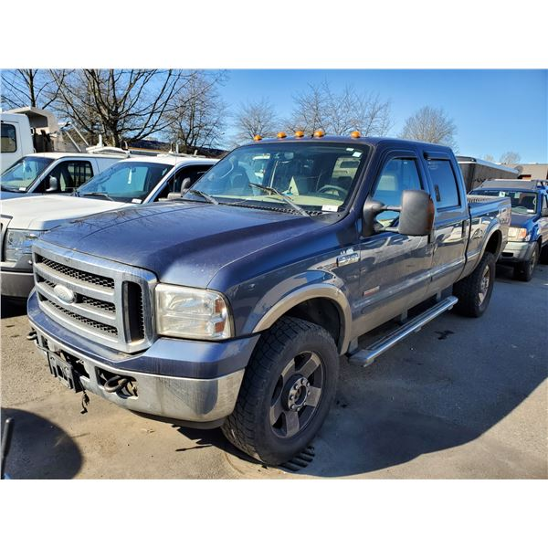 2005 FORD F-350 LARIAT, POWERSTROKE, 4DR PU, BLUE, VIN # 1FTWW31P05EB61965