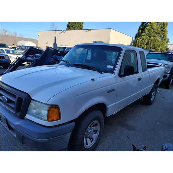 2005 FORD RANGER, 2DR EXT CAB PU, WHITE, VIN # 1FTZR44U25PA90672