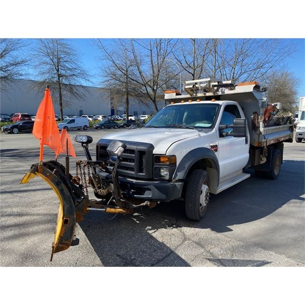 2010 FORD F550 XL SUPERDUTY DUMPTRUCK WITH PLOW, SPREADER, WHITE, VIN # 1FDGF5HRXAEA23704