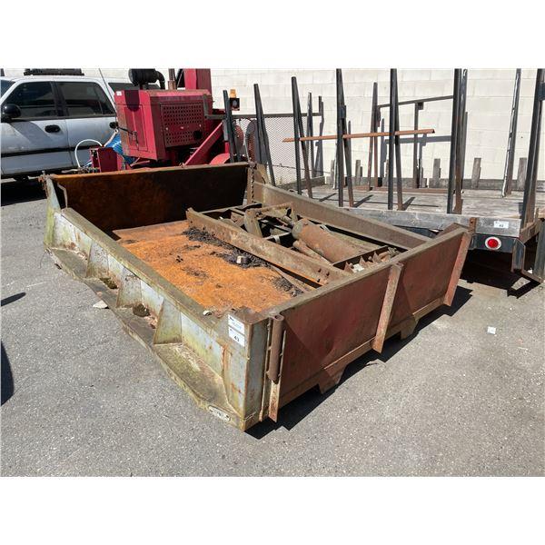 """96""""L X 78""""W GREY METAL LANDSCAPERS TRUCK REAR DUMP BOX WITH HYDRAULIC CYLINDER & FRAME"""
