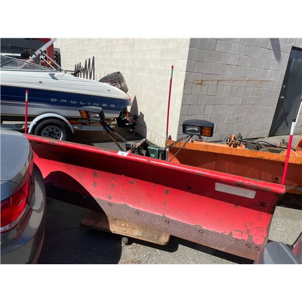"""RED UNIMOUNT 9'W X 26""""H INDUSTRIAL HEAVY TRUCK PLOW BLADE WITH LIGHTS"""