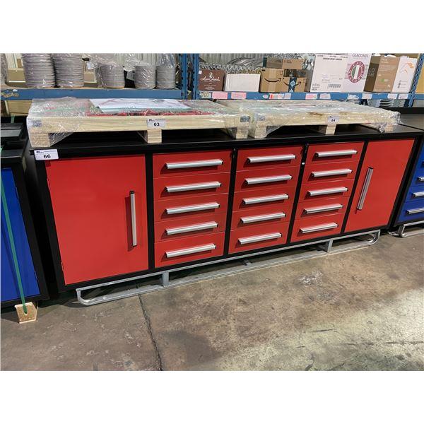 "STEELMAN RED 15 DRAWER 2 DOOR 113""W X 28""D X 36""H METAL WORK BENCH WITH DRAWER LOCKS, ANTI-SLIP"