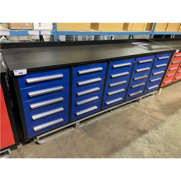 "STEELMAN BLUE 25 DRAWER 2 DOOR 113""W X 28""D X 36""H METAL WORK BENCH WITH DRAWER LOCKS, ANTI-SLIP"