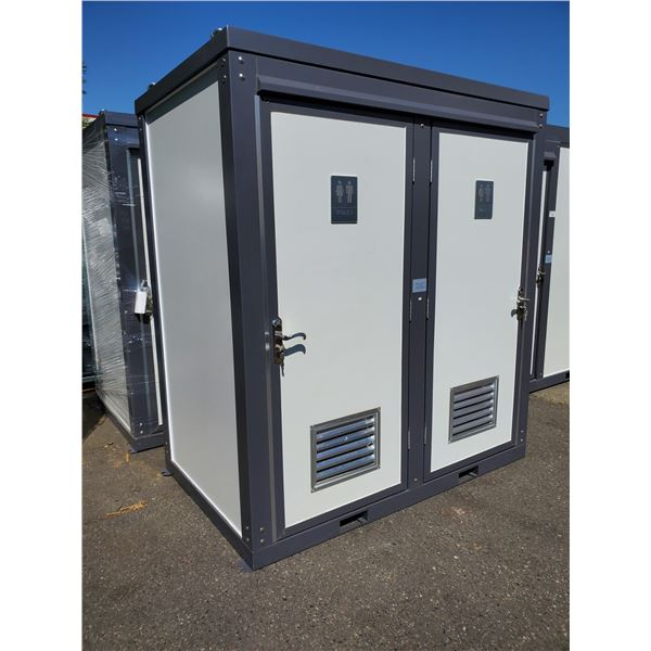 """BASTONE 81""""W X 50.5""""D X 90""""H MOBILE DUAL RESTROOM WITH SINKS, TOILETS, LOCKING DOORS &"""
