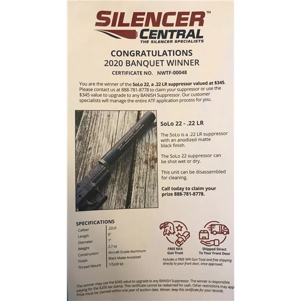 Silencer Central Solo 22-.22LR Suppressor or $345 value to upgrade to any Banish Suppressor