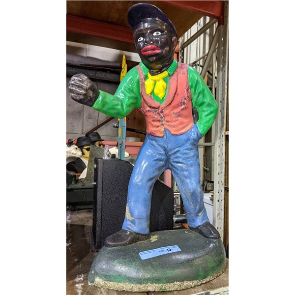 "Black americana statue of Joco Graves also known as the lawn jockey 28"" approx high weight 60-80lbs"
