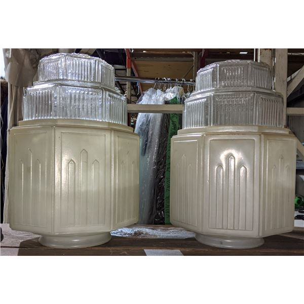 2 original milk glass art deco shades from Waldorf Astoria (New York)