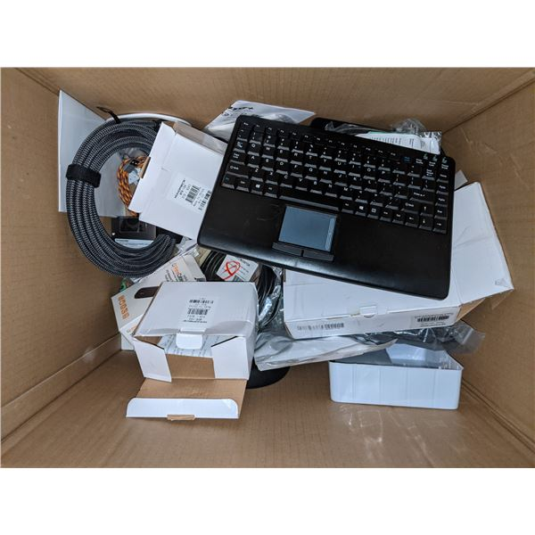 Box of electronics, speakers, keyboards, etc from production office