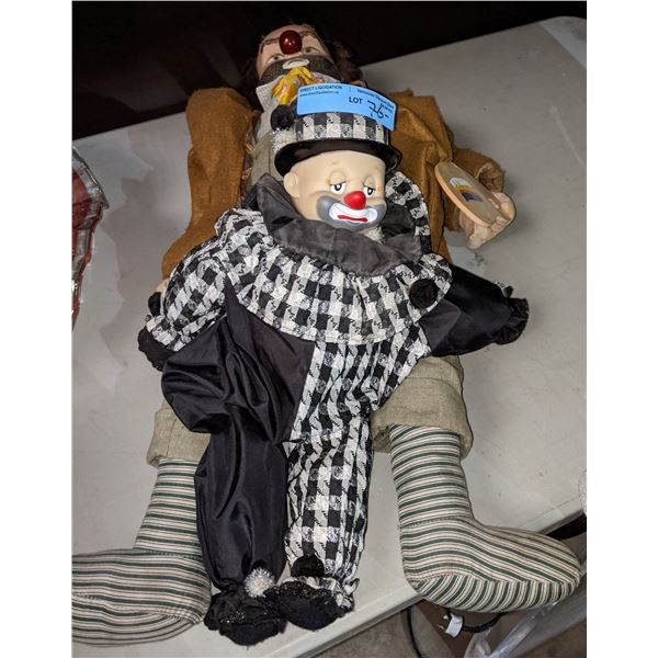 Vintage Large and Small Clown Puppet Dolls appears to be German