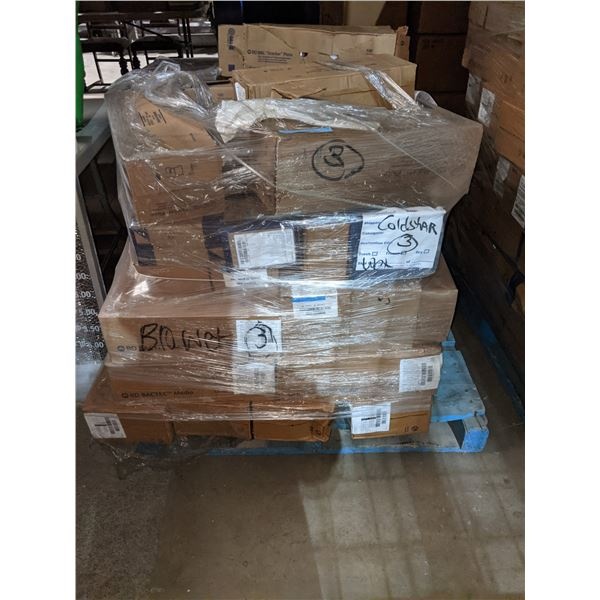3 pallet of medical devices including petry dishes