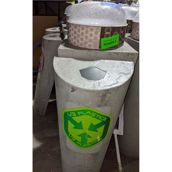 """3 light up garbage cans from sci-fi show - 44"""" H"""