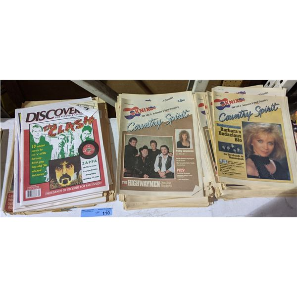 Assorted country music, rock n roll music magazines