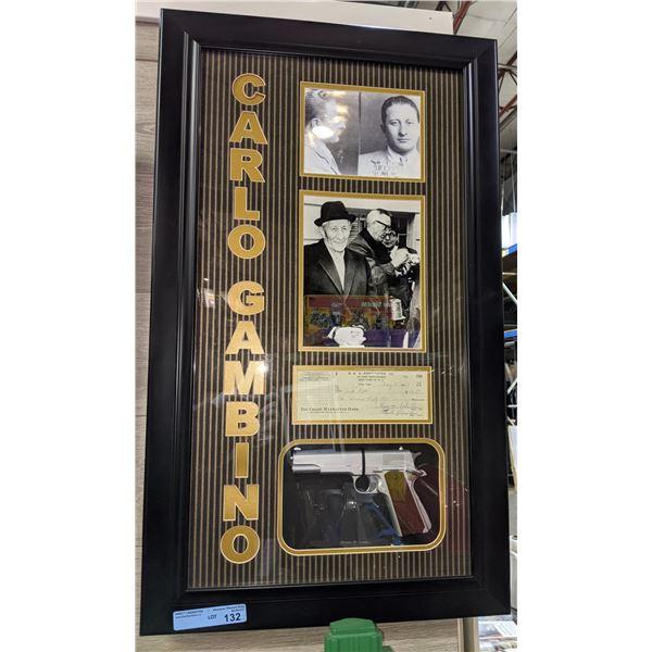 Carlo Gambino framed memrobilia - Authentic signed check, mug shot and a replica of his gun