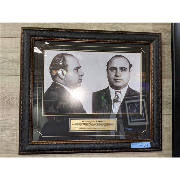 AL 'Scarface' CAPONE framed picture with description printed on brass plates