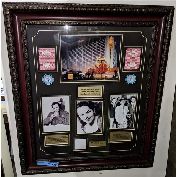 Bugsy Siegel shadow box with original photos and original chip and playing card from Flamingo casino