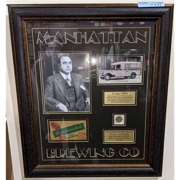 """Manhattan brewing co shadow box - Complete with picture of Al Capone, brewery delivery truck 25""""x29"""""""